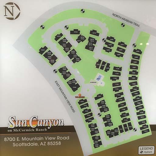 Address Map of Sun Canyon community in McCormick Ranch Scottsdale AZ 85258
